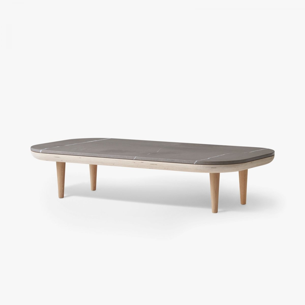 Fly Table SC5, white oiled oak frame with honed Pietra di Fossena marble top.
