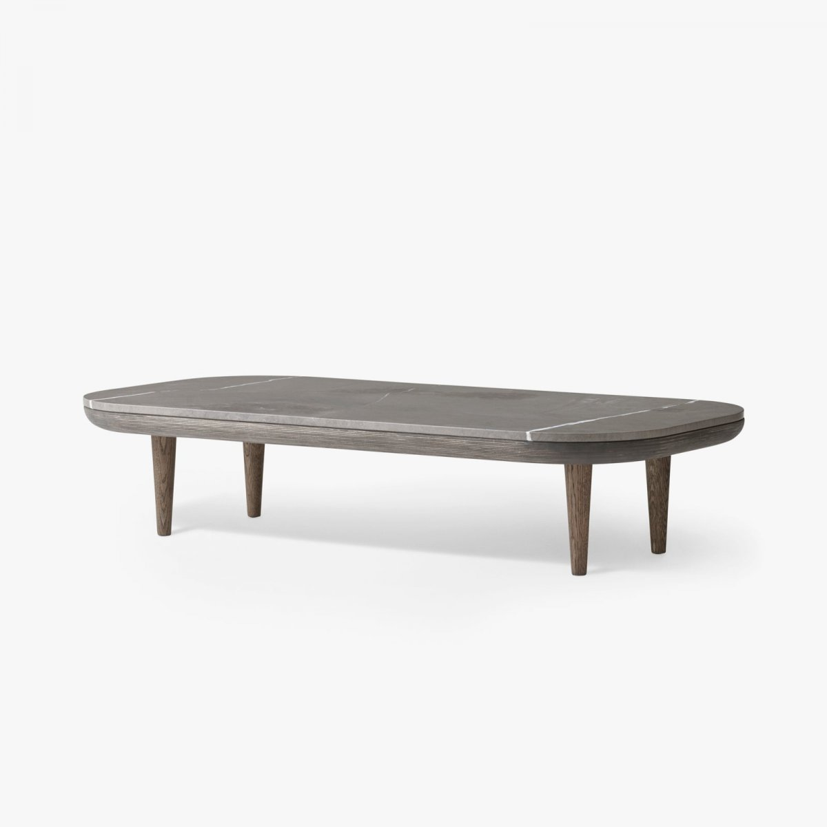 Fly Table SC5, smoke oiled oak frame with honed Pietra di Fossena marble top.