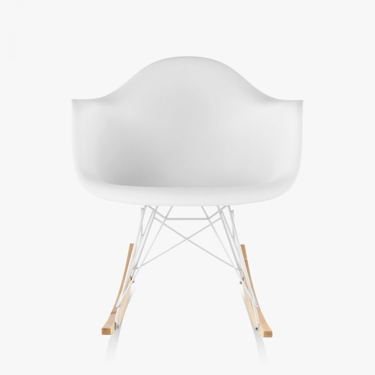 Eames Molded Plastic Armchair Rocker Base, white, front view.