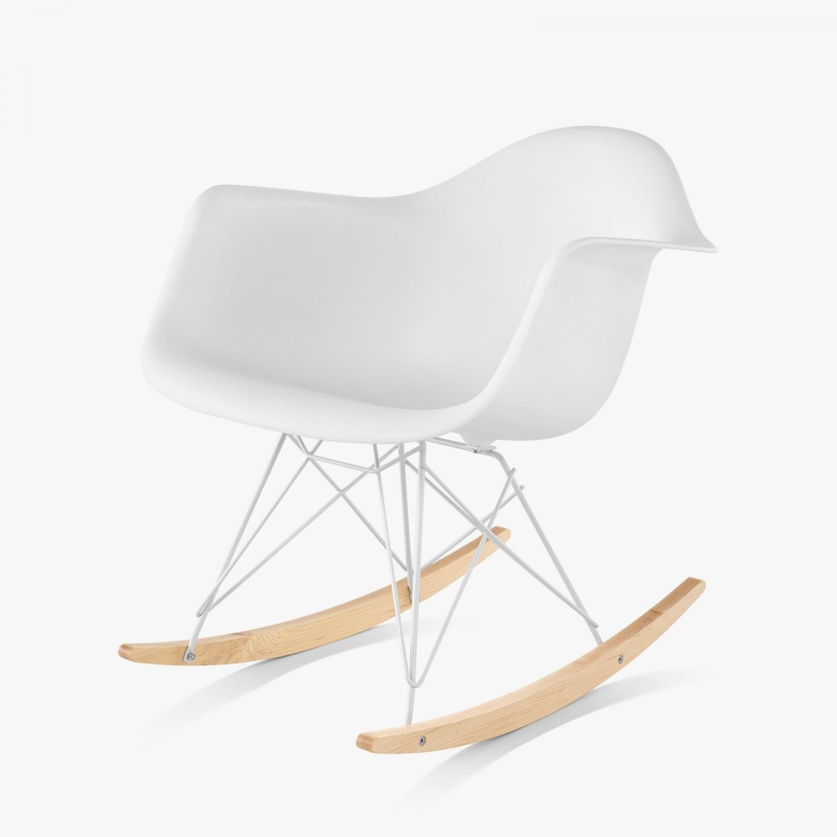 Eames Molded Plastic Armchair Rocker Base, white.