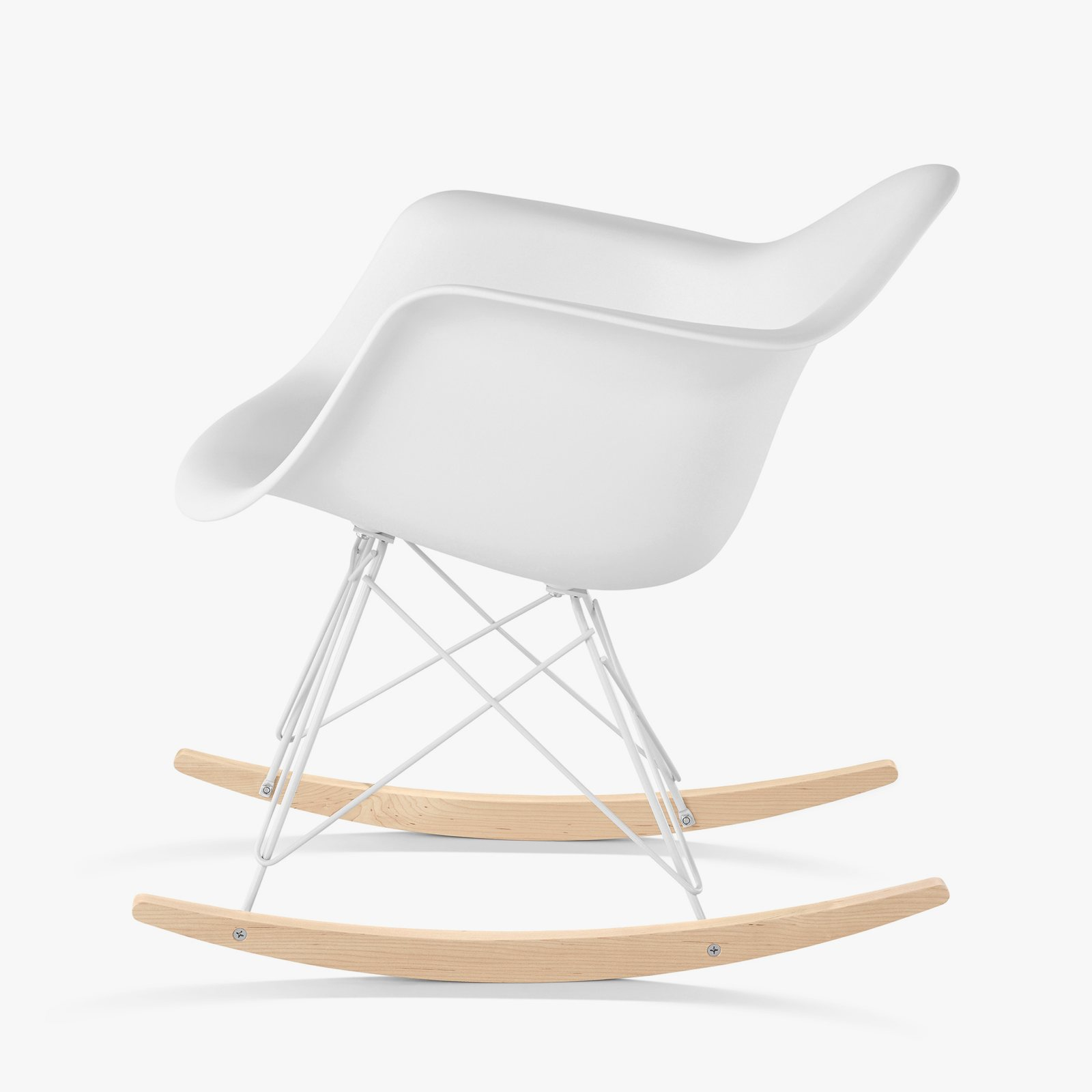 Eames Molded Plastic Armchair Rocker Base, White, Side View.