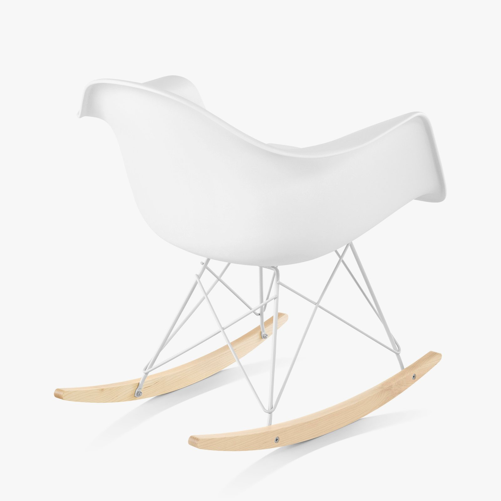 Eames Molded Plastic Armchair Rocker Base, White, Back View.