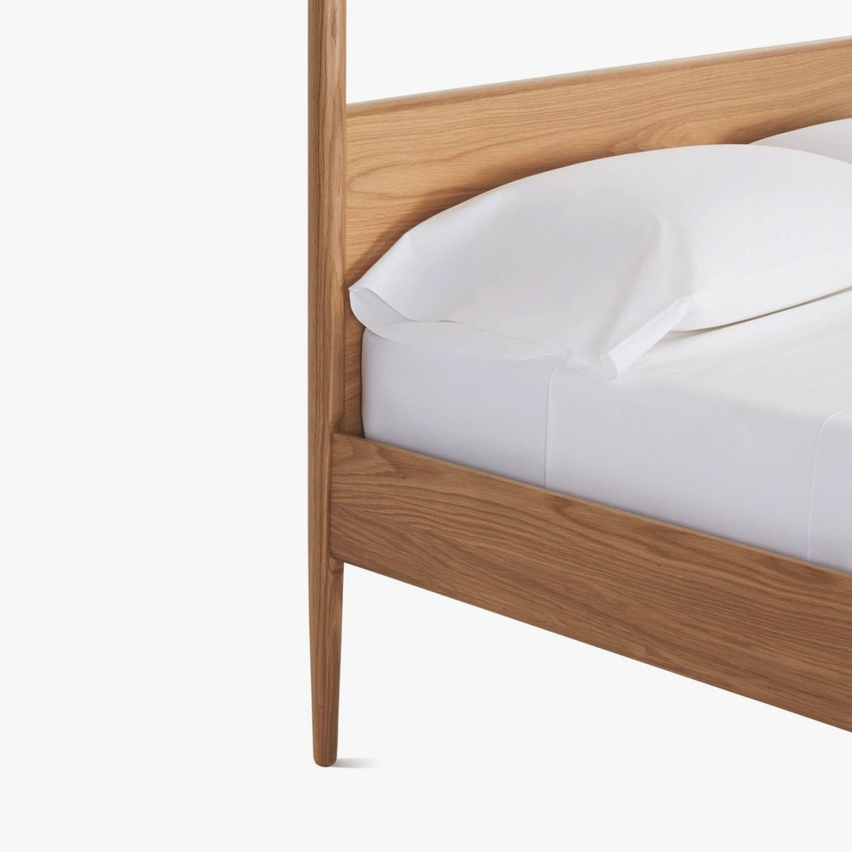 Cove Canopy Bed, oak, detail.