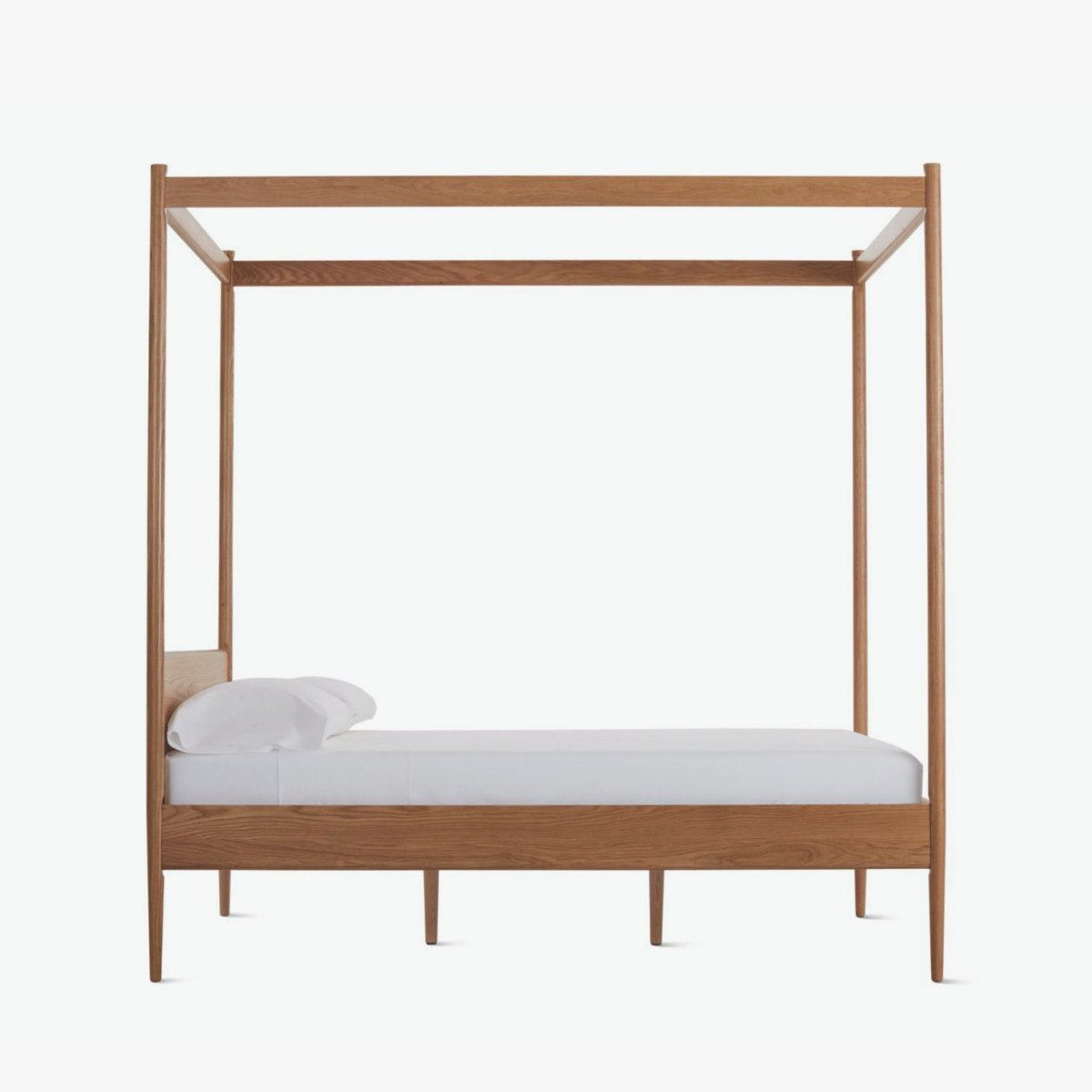 Cove Canopy Bed, oak, side view.