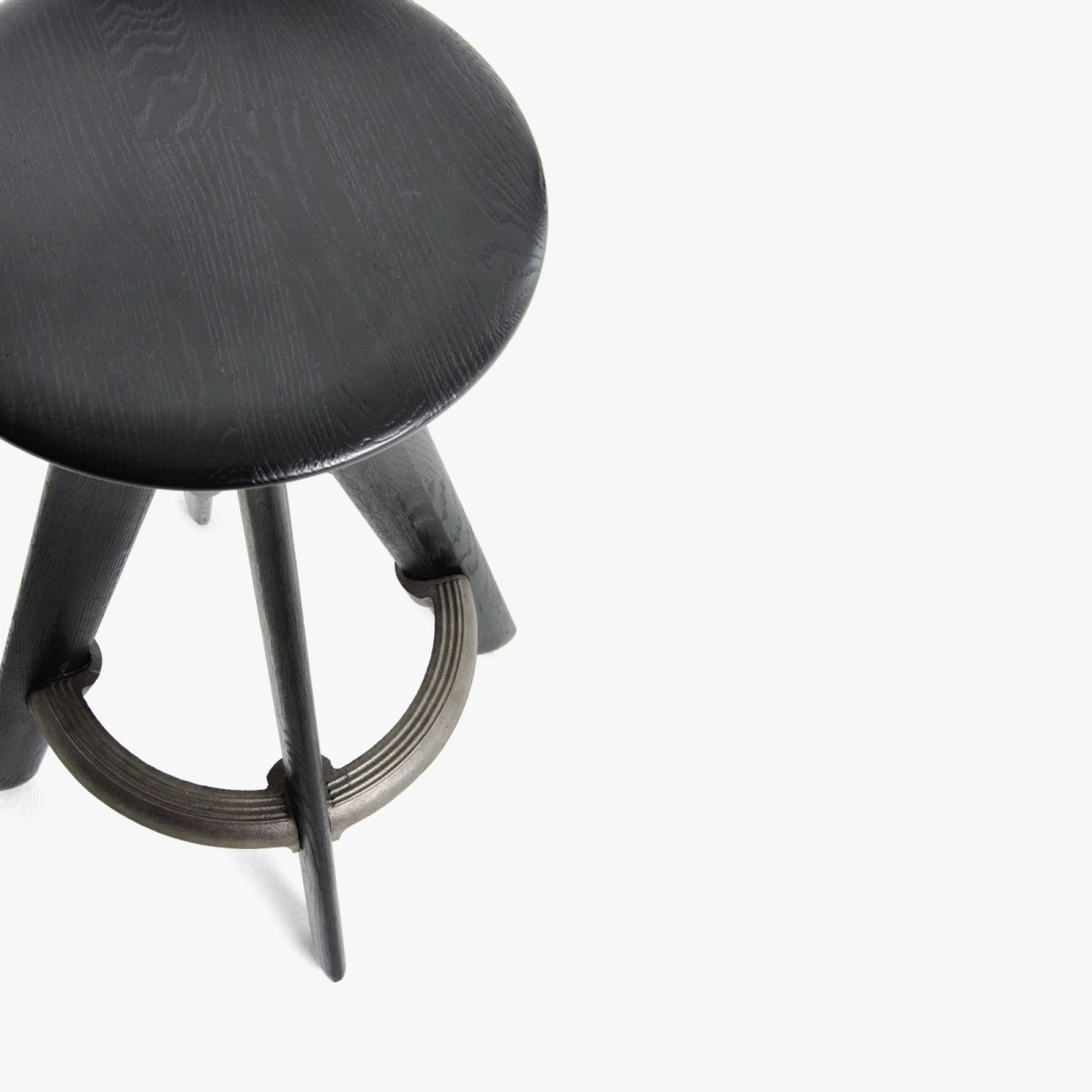 Slab Bar Stool, black, detail top view.