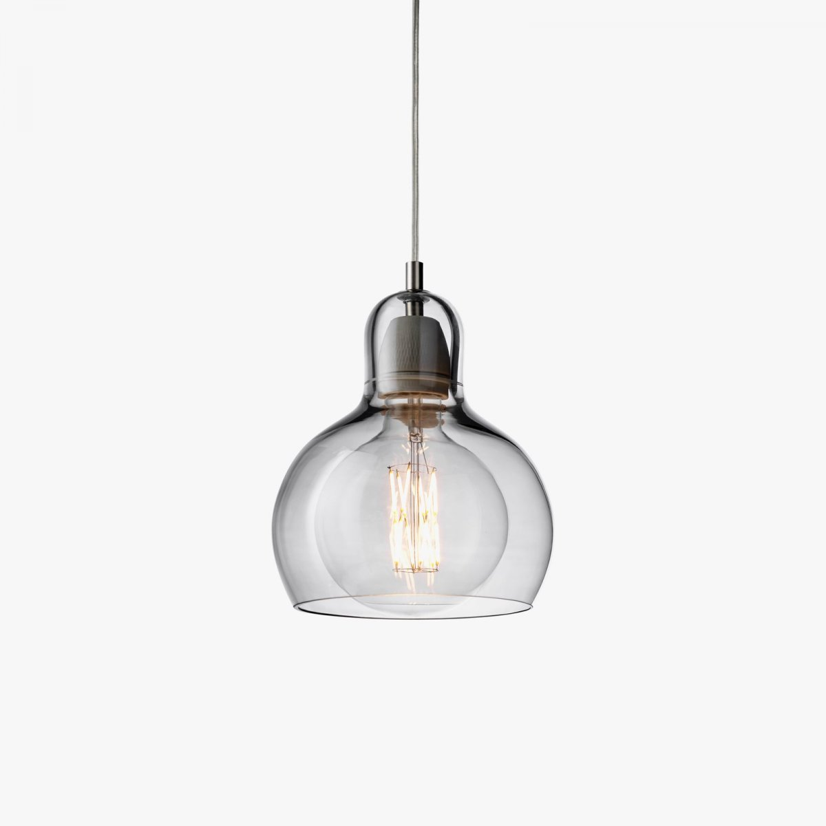 Mega Bulb SR2, silver luster glass with clear PVC cord.