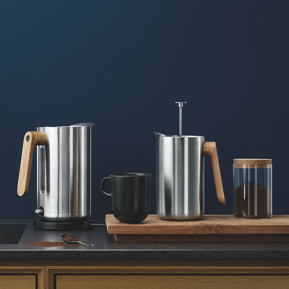 Nordic Kitchen Thermo Cafetiére and Electric Kettle.