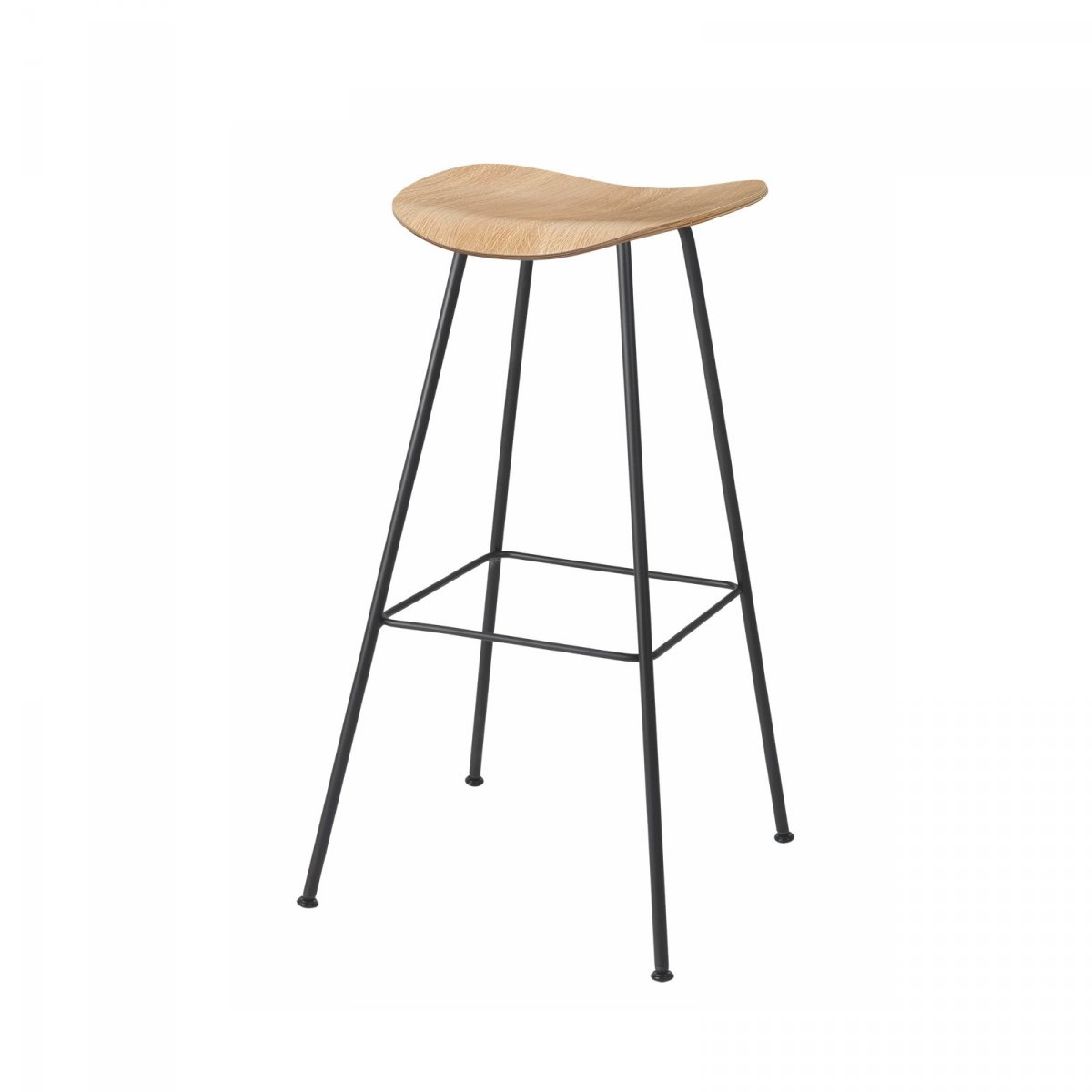 Gubi 2D Stool Center Base, oak.