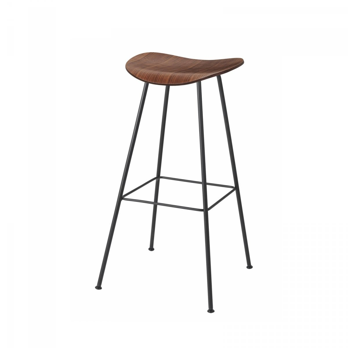 Gubi 2D Stool Center Base, walnut.