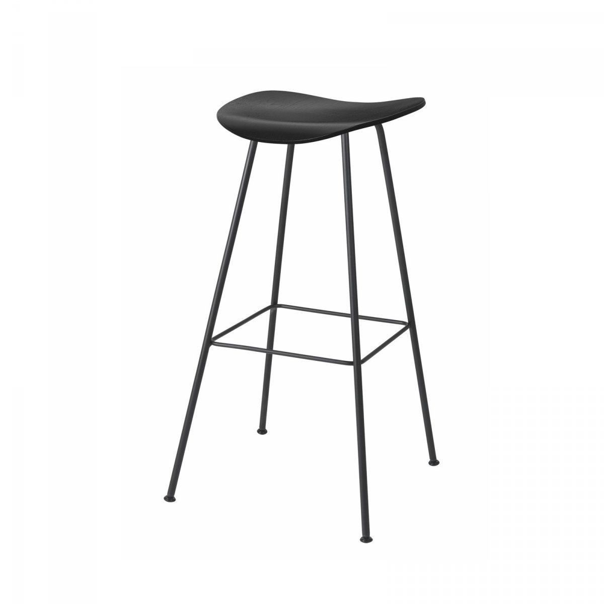 Gubi 2D Stool Center Base, black stained birch.