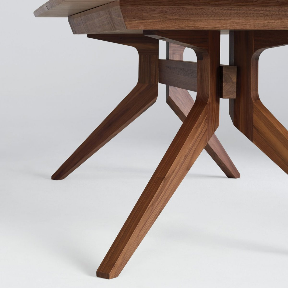 Cross Extending Table, walnut, detail.