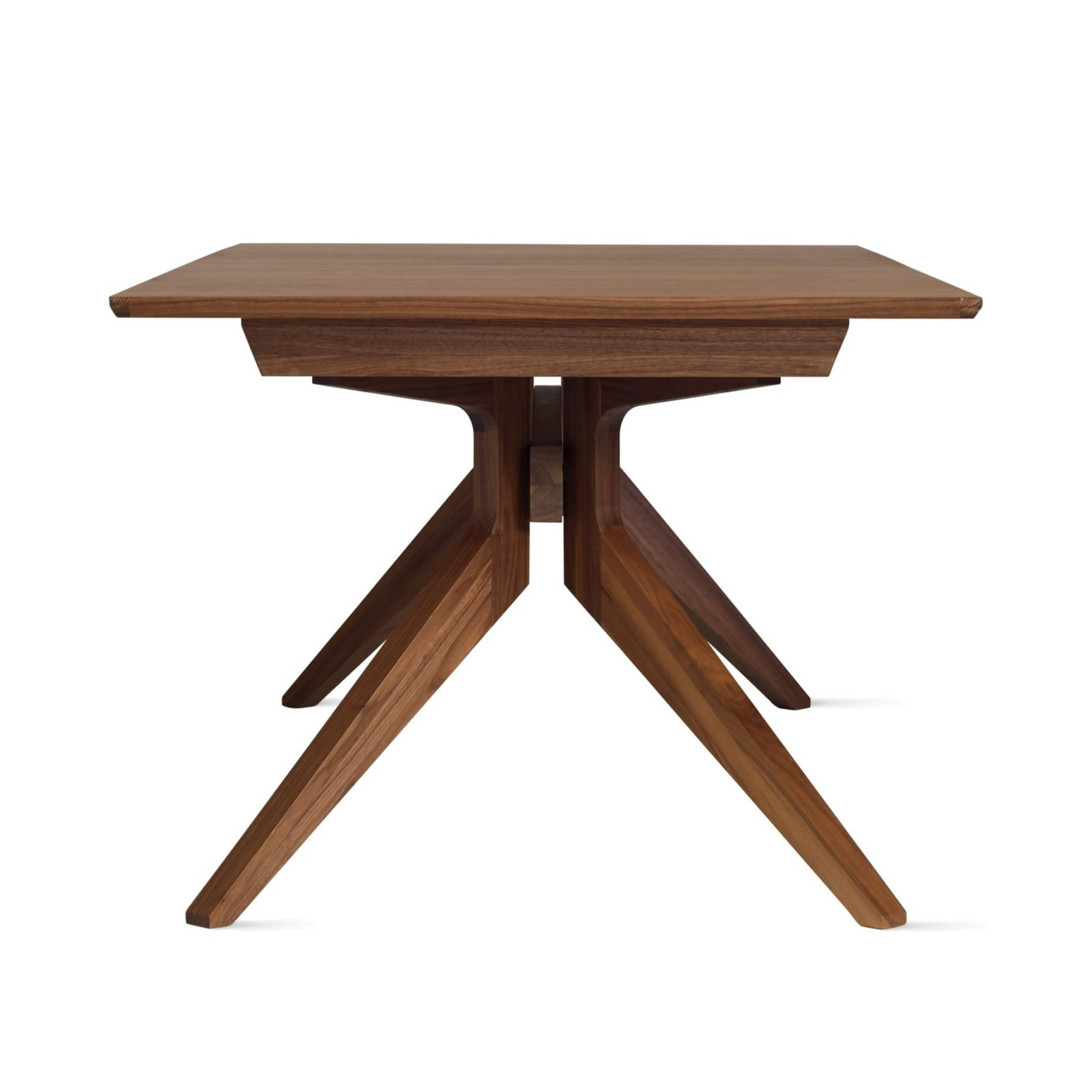 Marvelous Cross Extending Table, Walnut, Side View.
