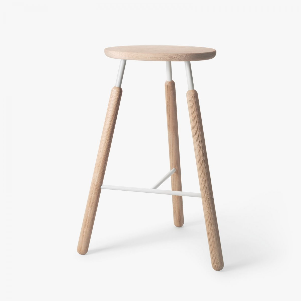 Bar Stool NA4, natural oak with white powder-coated steel.