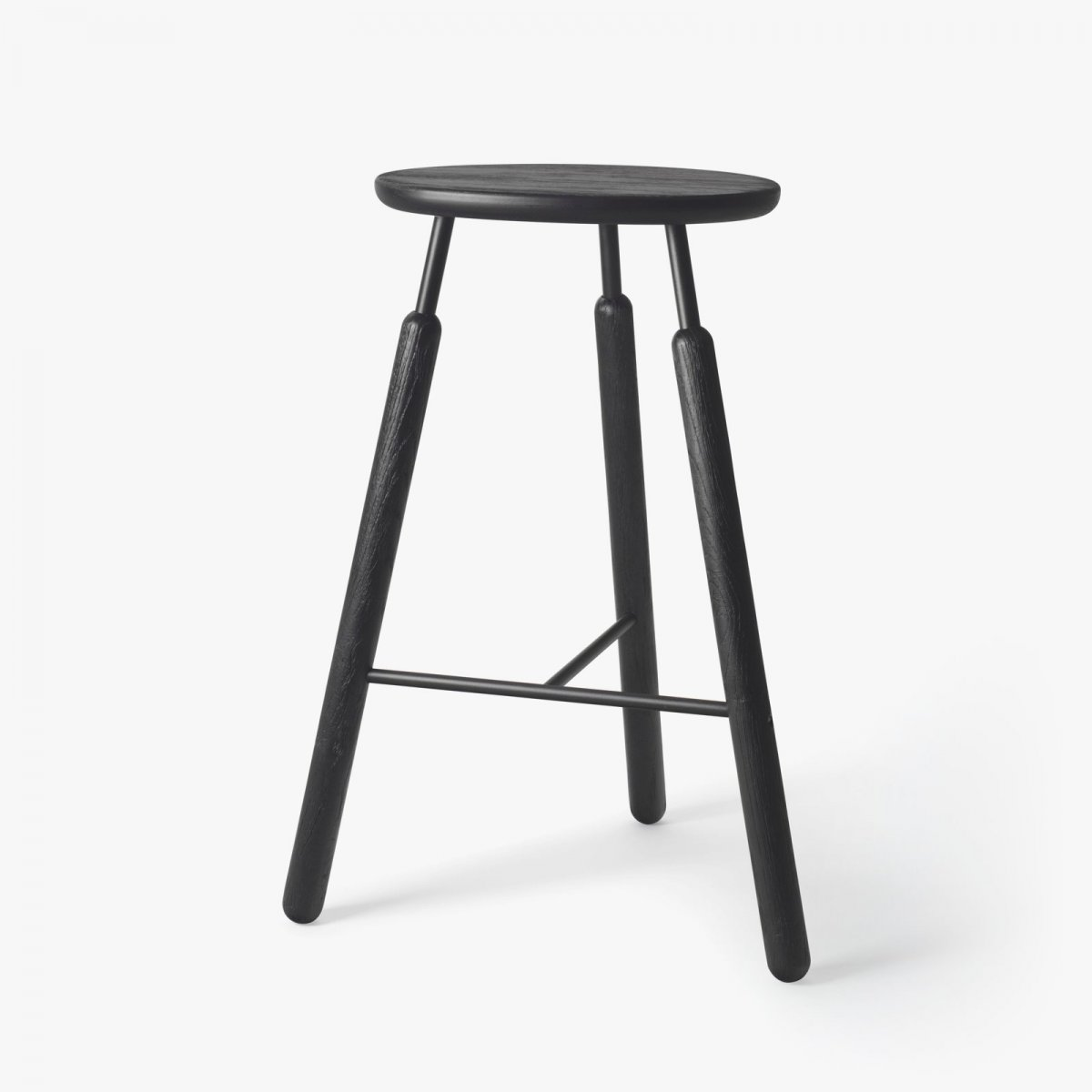 Bar Stool NA4, black stained oak with black powder-coated steel.