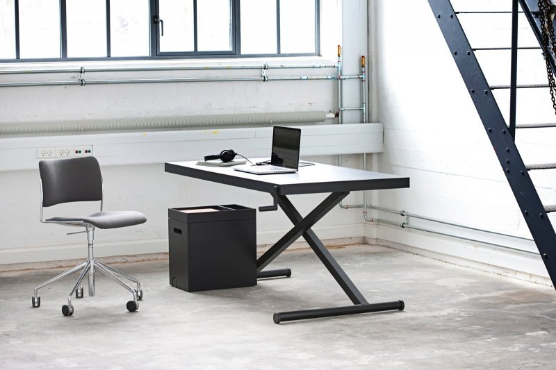 X-Table black with trolley.