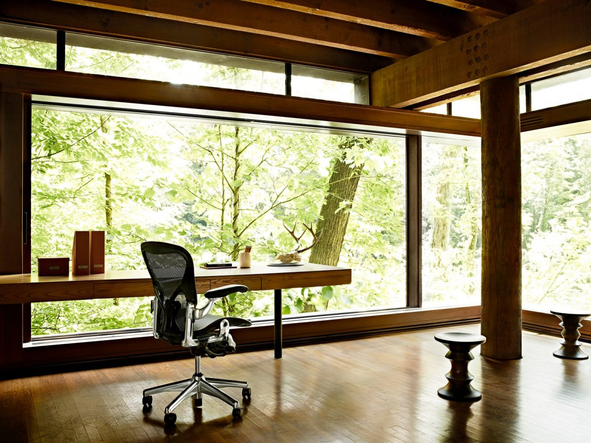 Workspace with Eames Walnut Stool.