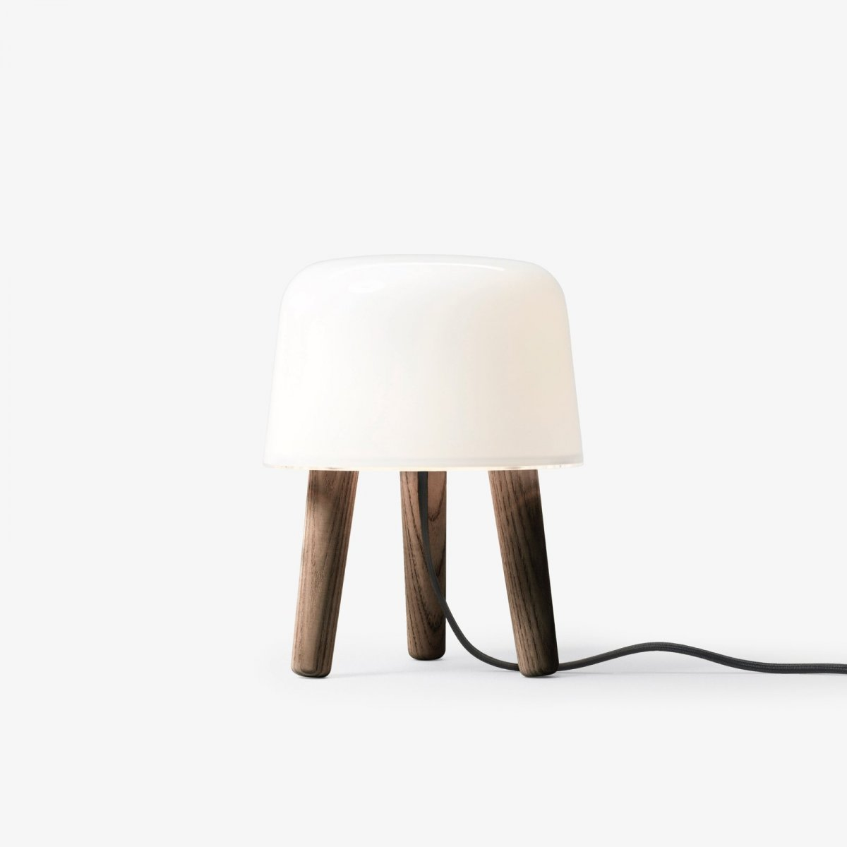 Milk Table Lamp NA1, smoked oiled legs with black fabric cord.