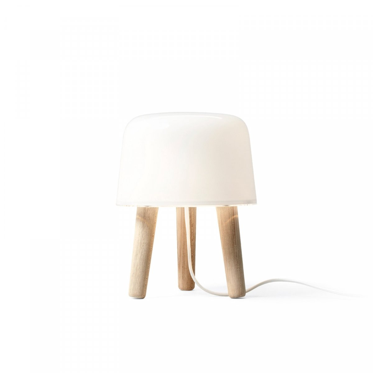 Milk Table Lamp NA1, untreated ash with white fabric cord.