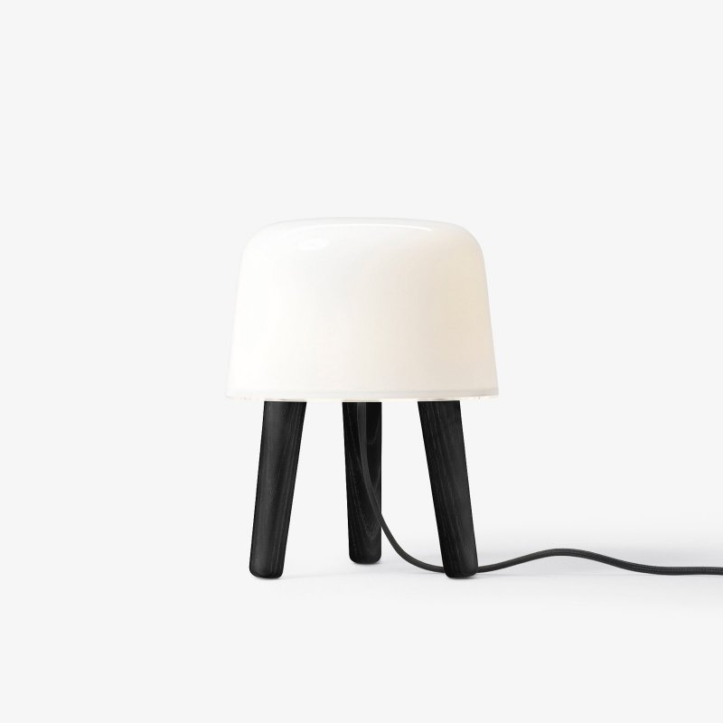 Milk Table Lamp NA1, black stained legs with black fabric cord.