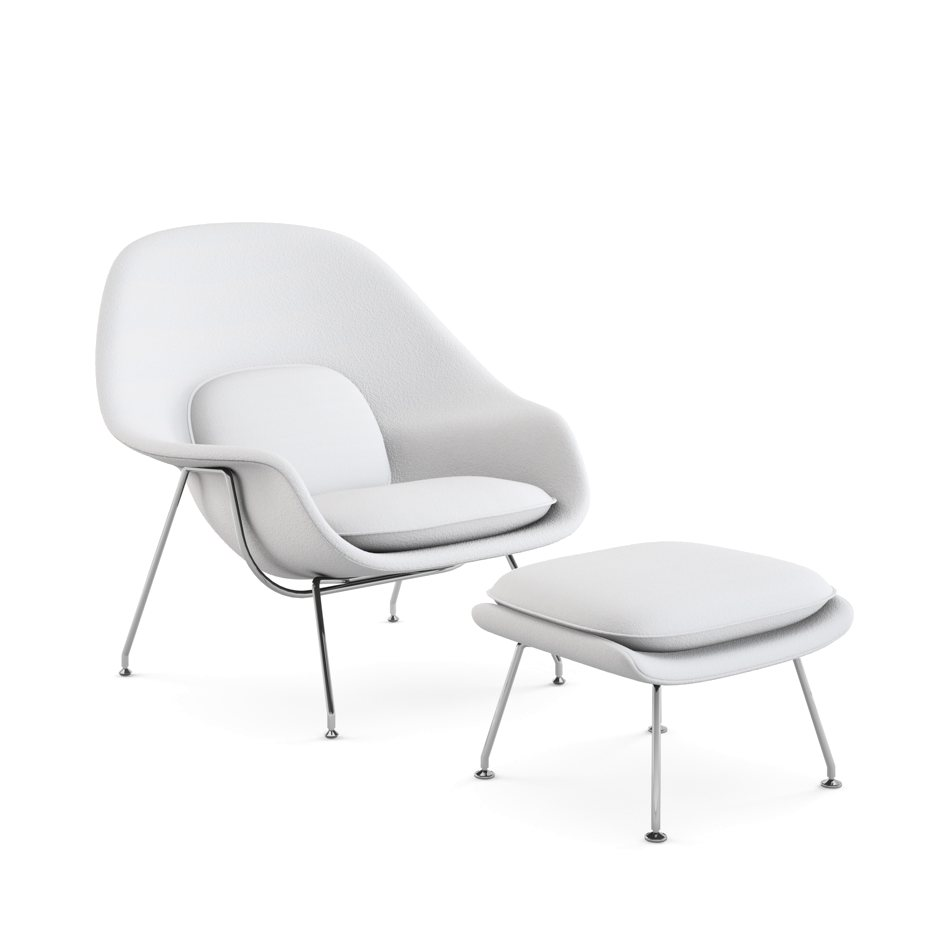 womb chair with ottoman by eero saarinen for knoll