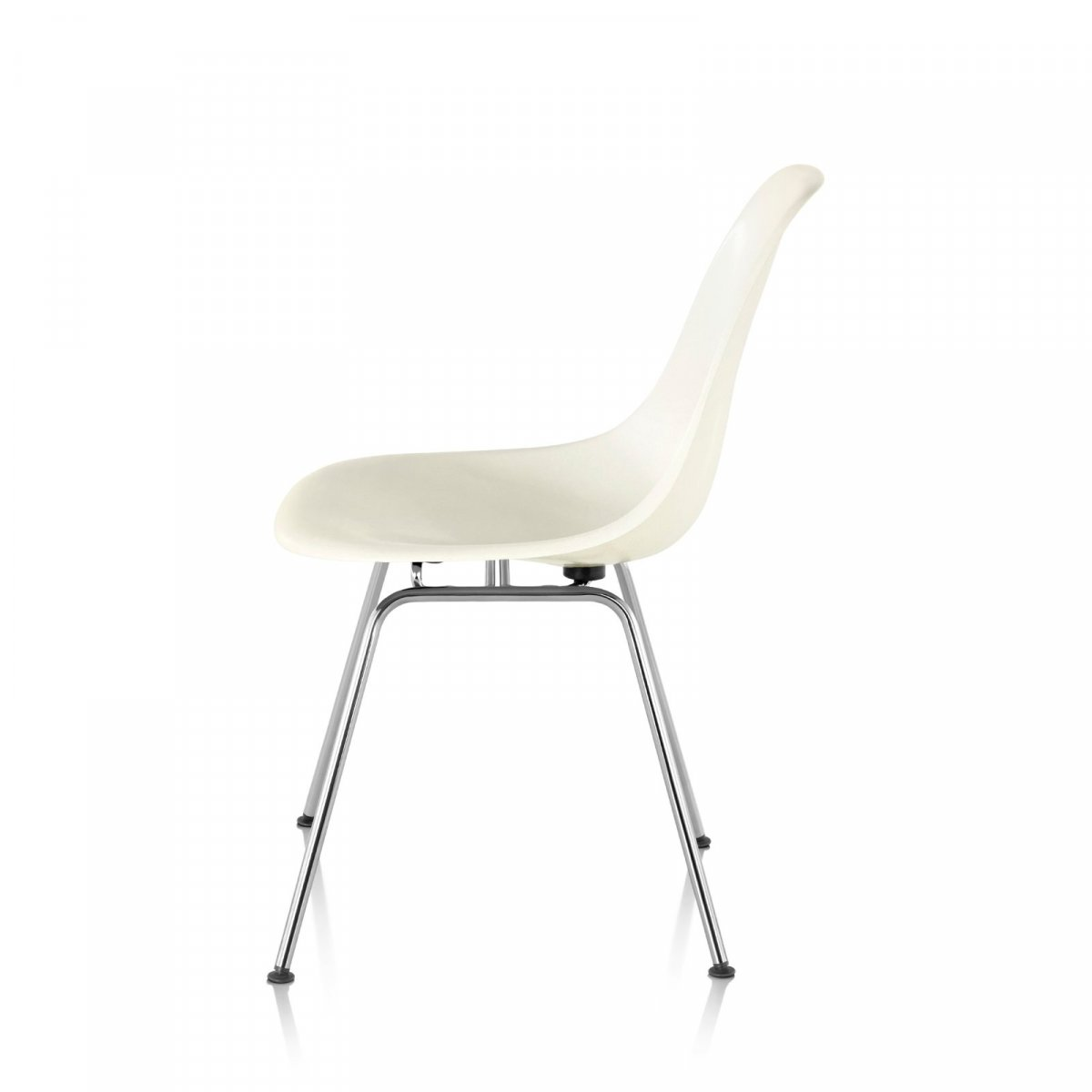 Eames Molded Plastic Side Chair 4-Leg Base, white, side view.