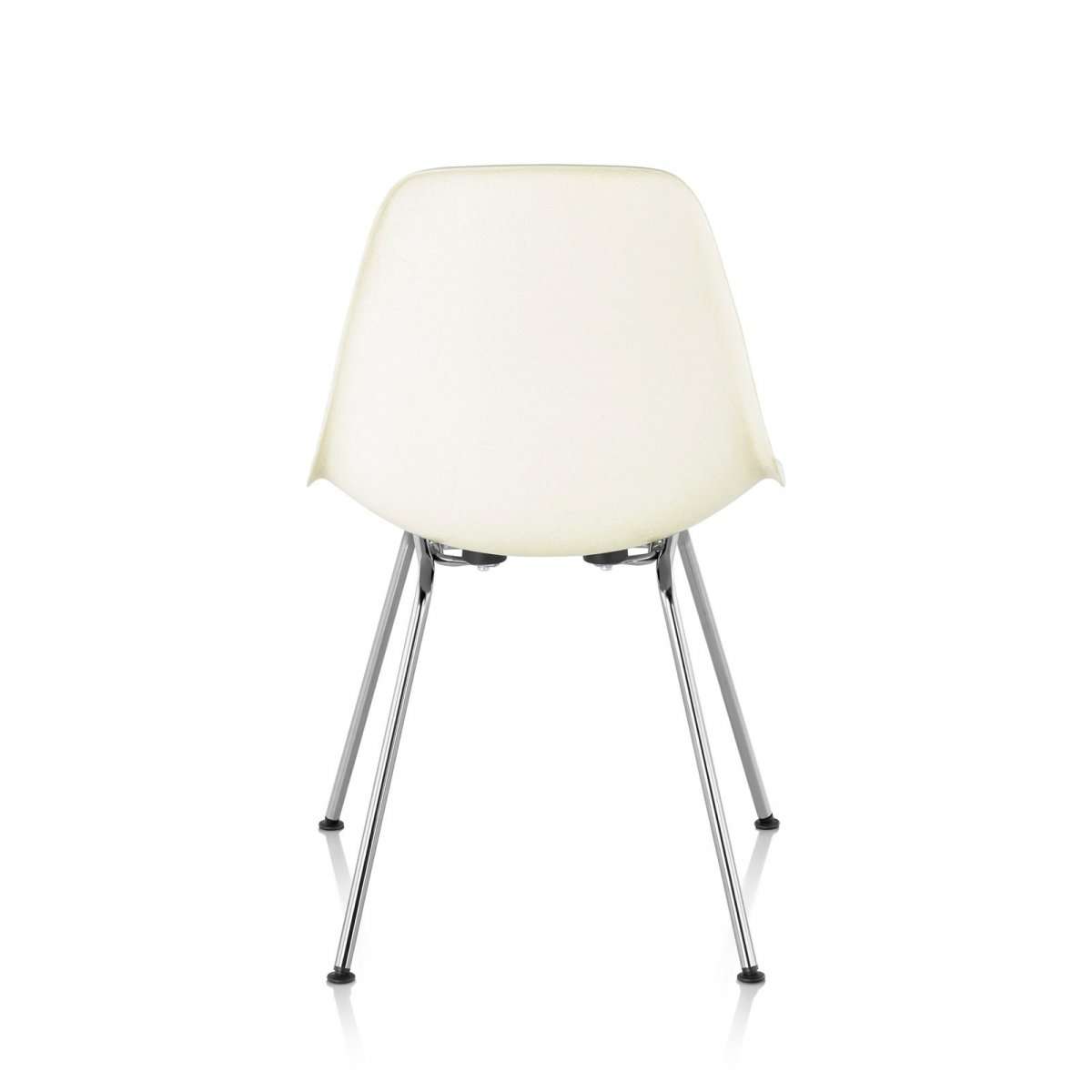 Eames Molded Plastic Side Chair 4-Leg Base, white, back view.
