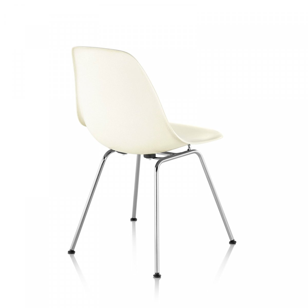 Eames Molded Plastic Side Chair 4-Leg Base, white, back view.