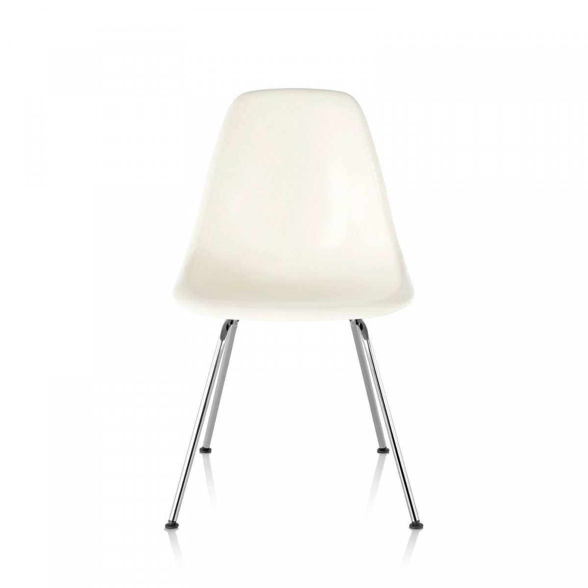 Eames Molded Plastic Side Chair 4-Leg Base, white, front view.