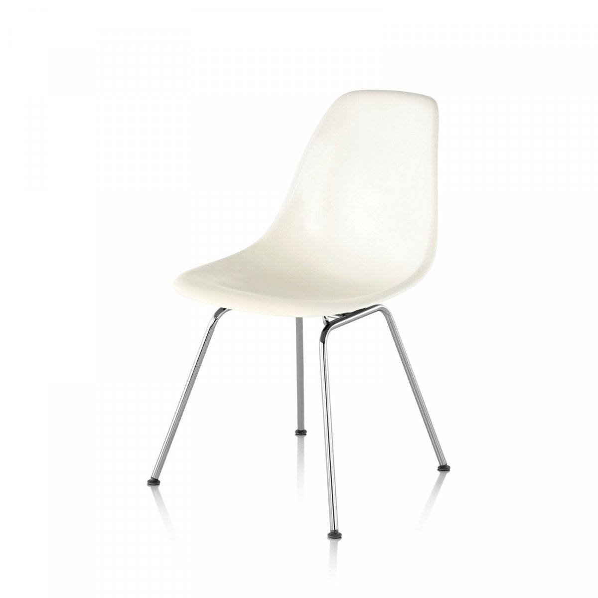 Eames Molded Plastic Side Chair 4-Leg Base, white.