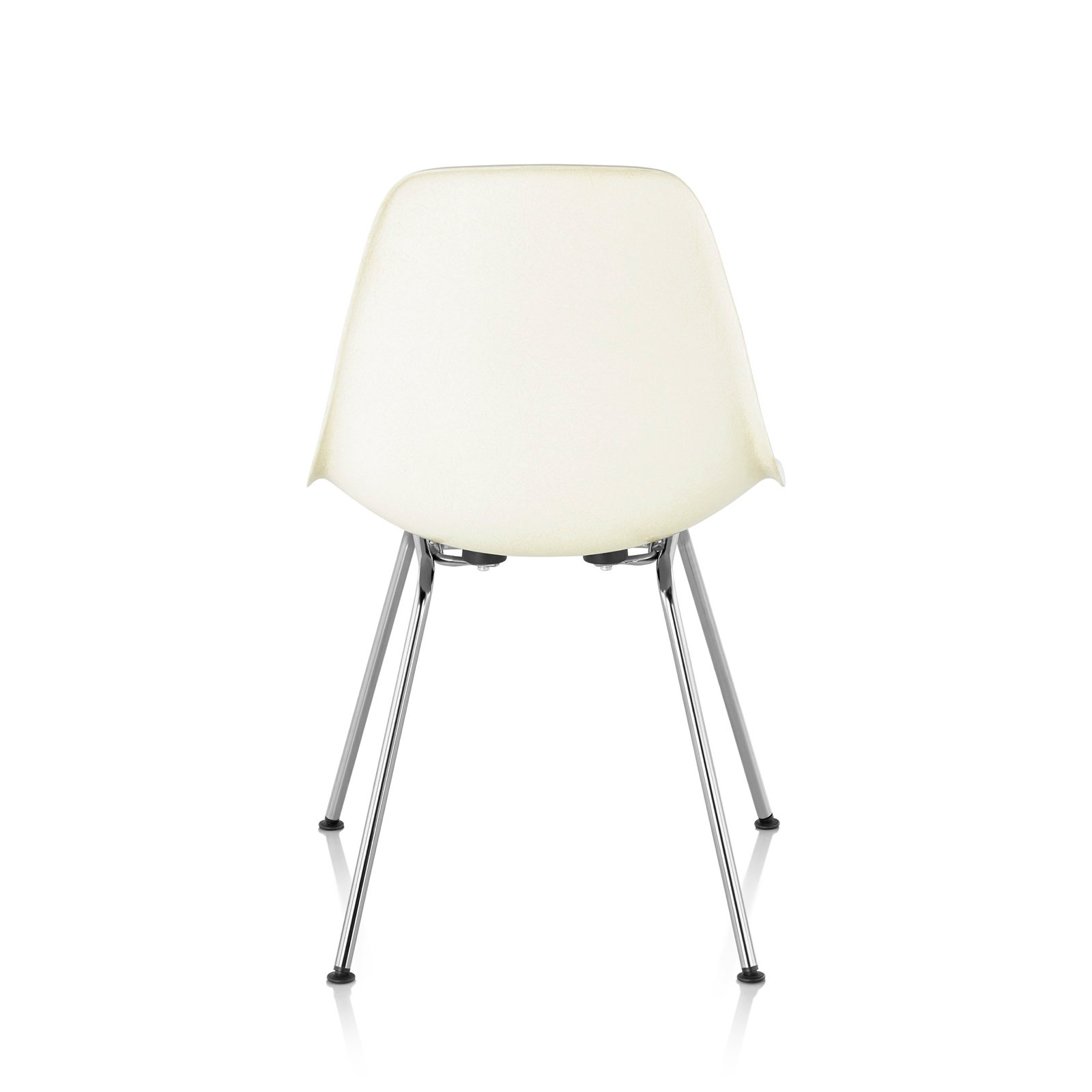 Eames Molded Plastic Side Chair 4 Leg Base, White, Back View.