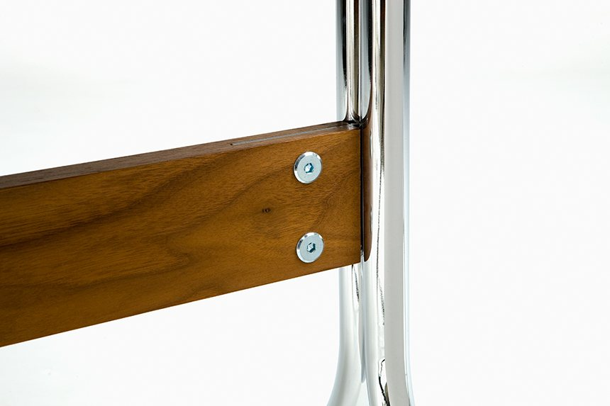Nelson Swag Leg Desk, chrome base with walnut stretcher.