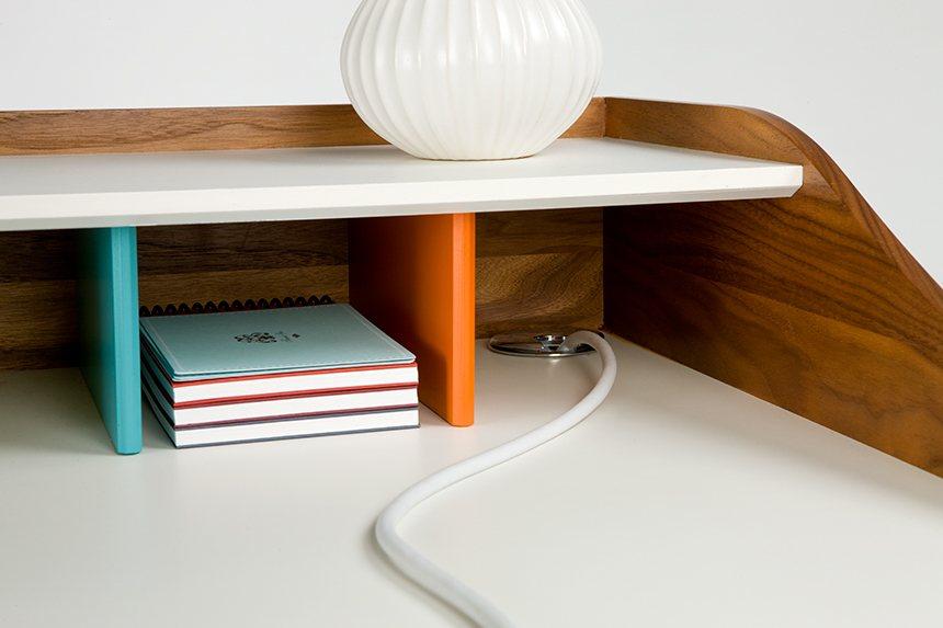 Nelson Swag Leg Desk, handy grommet.