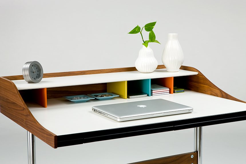 Nelson Swag Leg Desk, hardwood dividers in whimsical colours.