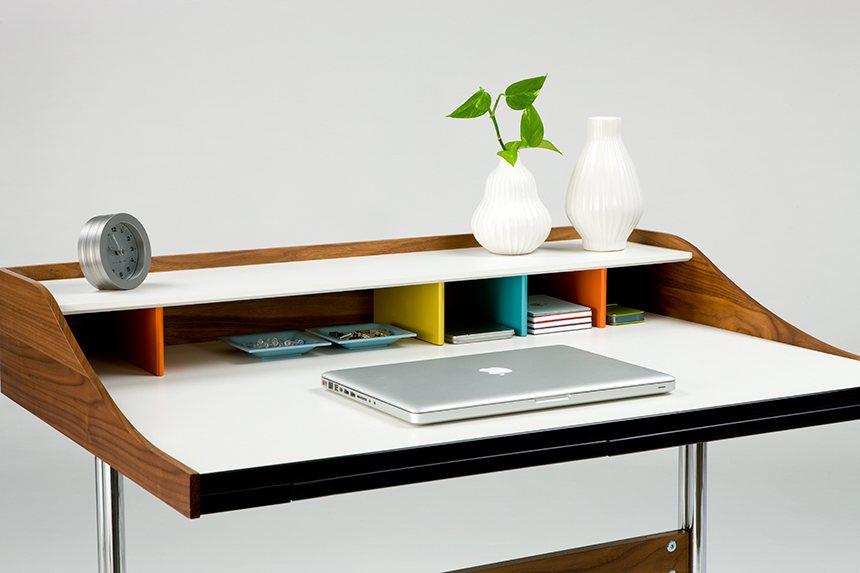 Nelson Swag Leg Desk, Hardwood Dividers In Whimsical Colours.