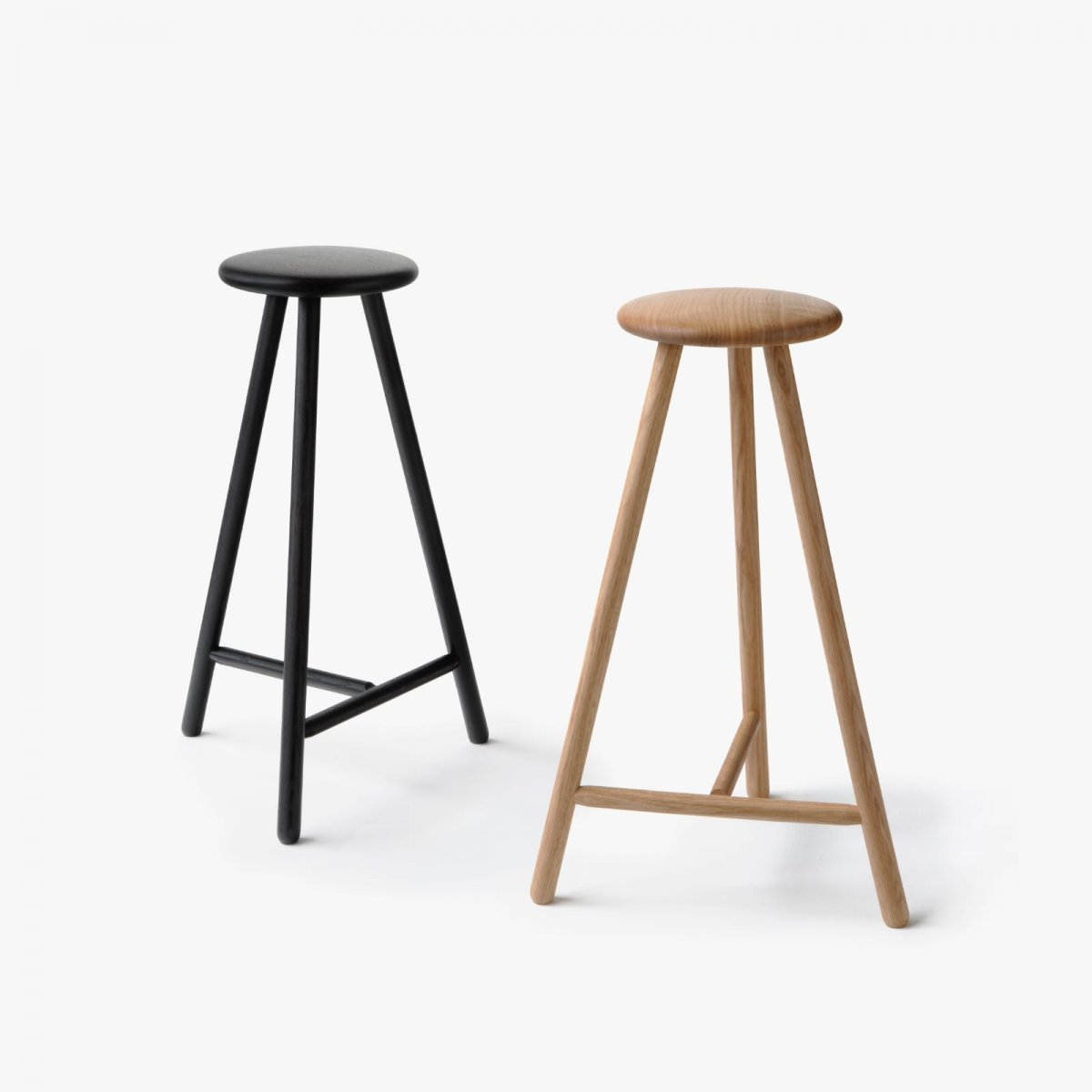 Perch Stool, natural wood oil and black stain.
