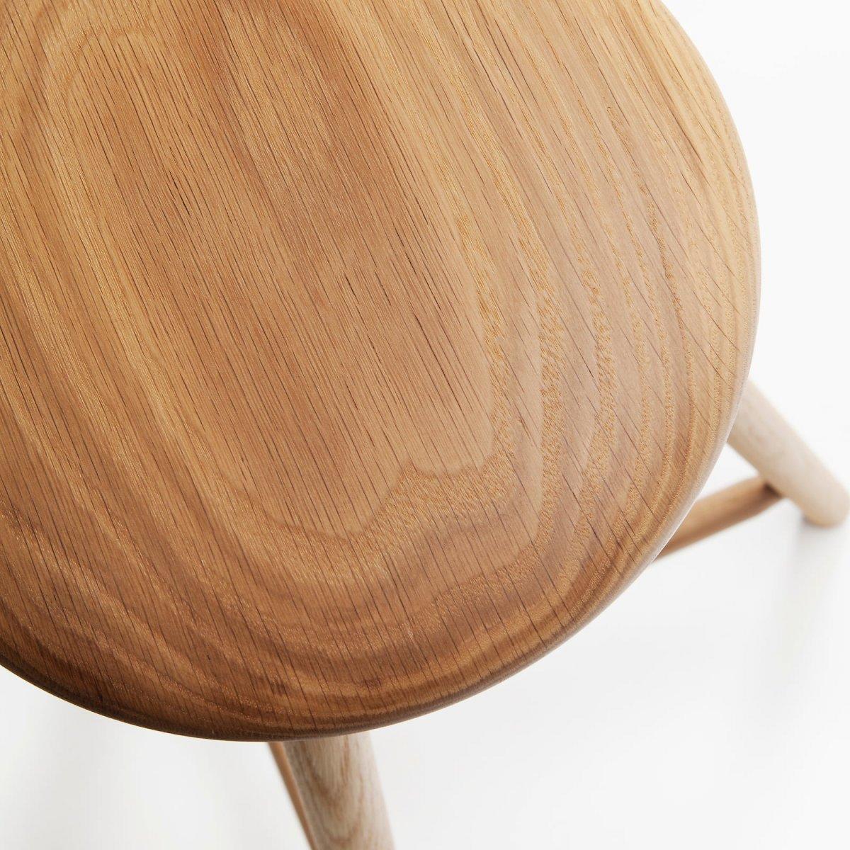 Perch Stool, natural wood oil, detail.