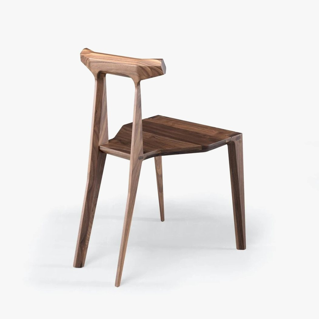 Orca Chair, walnut, back view.