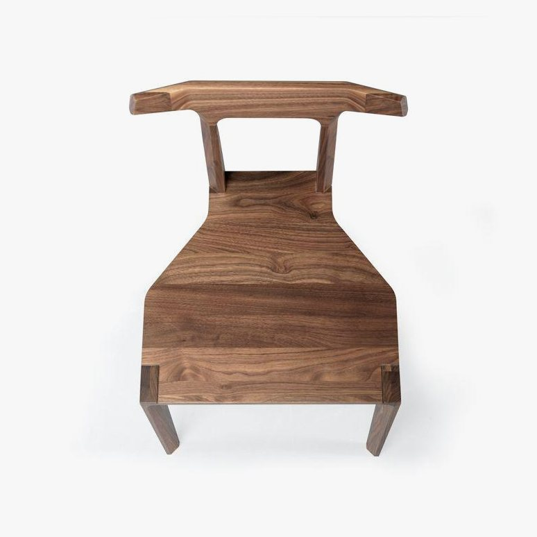 Orca Chair, walnut, top view.