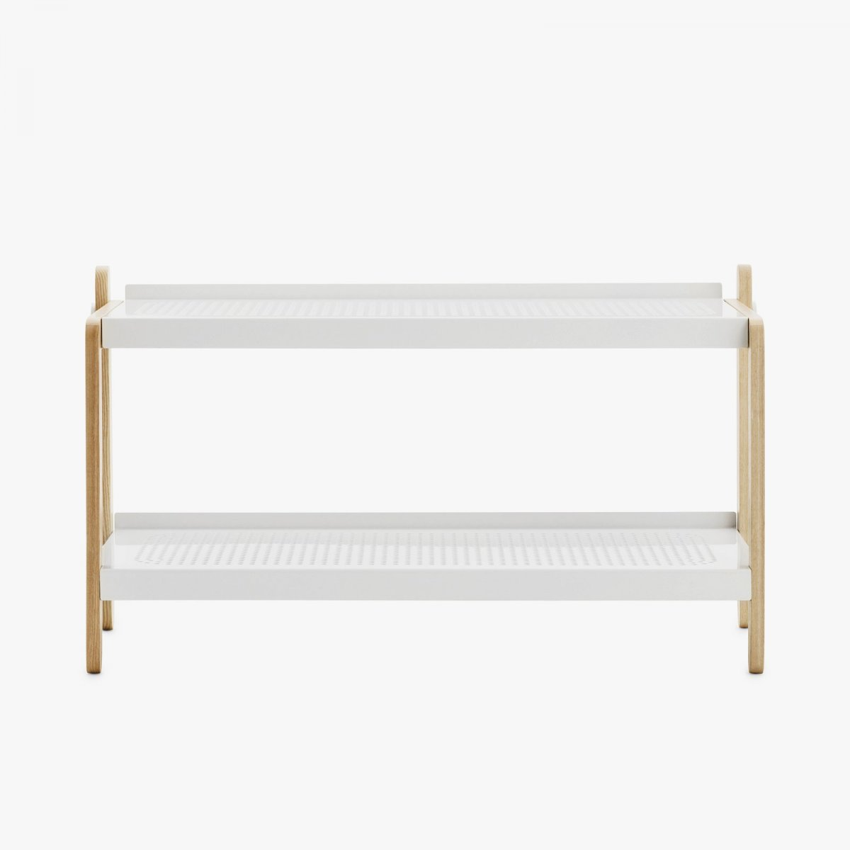 Sko Shoe Rack in white, front view.