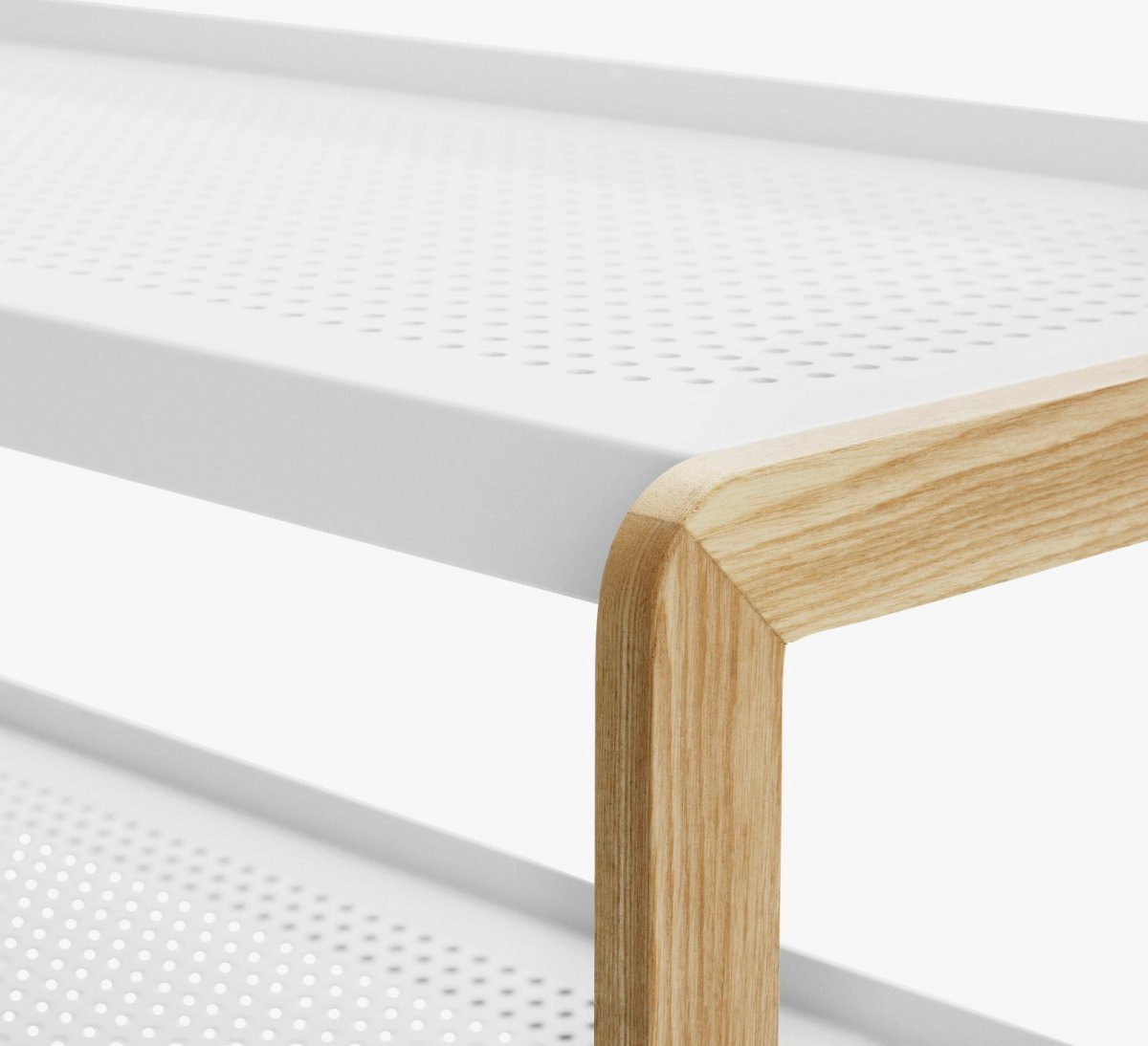 Sko Shoe Rack in white, detail.