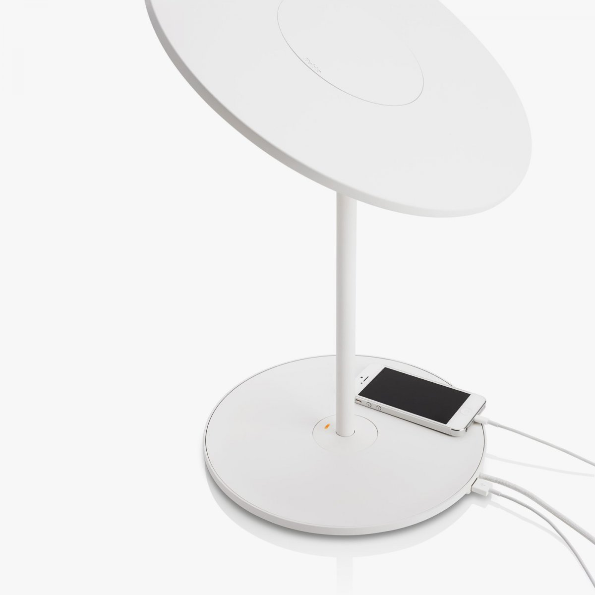 Circa Table Lamp, white, with integrated USB charging port.