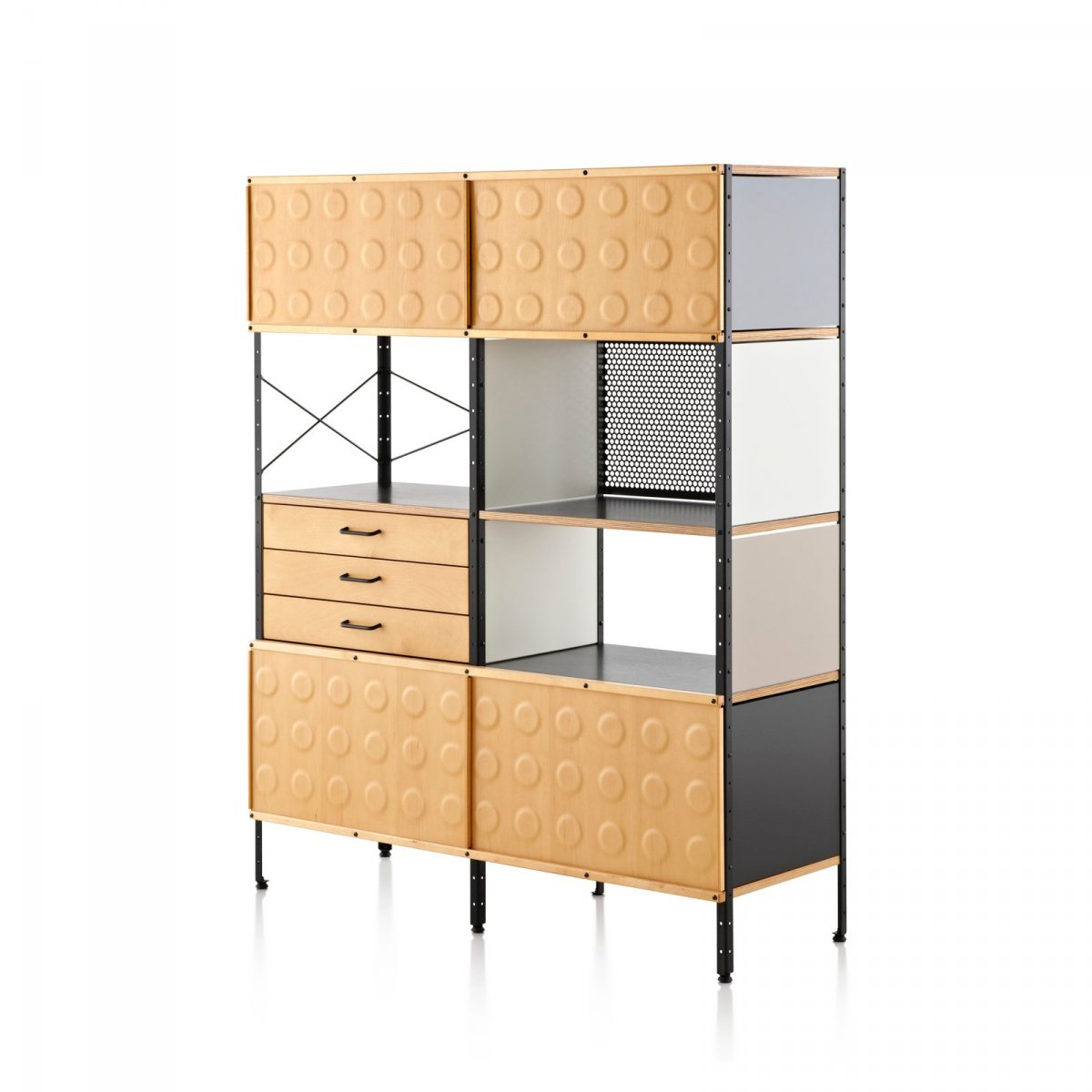 Eames Storage Unit, 4 units high × 2 units wide, neutral colors.