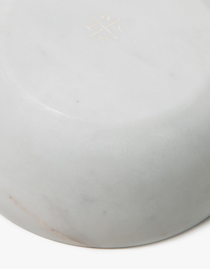 Mara Serving Collection - Medium Bowl White, underside.