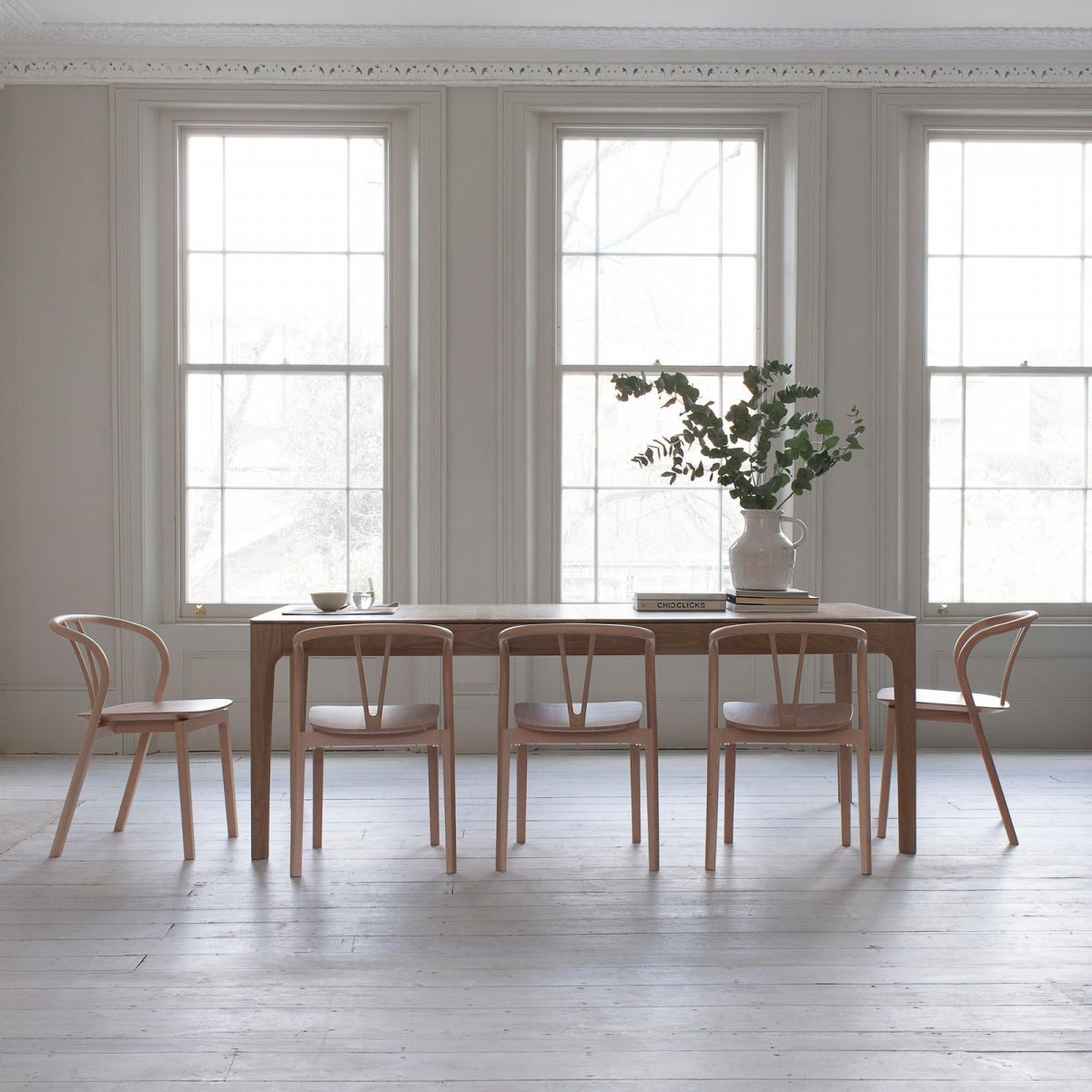 Flow Chairs and Romana Large Dining Table.