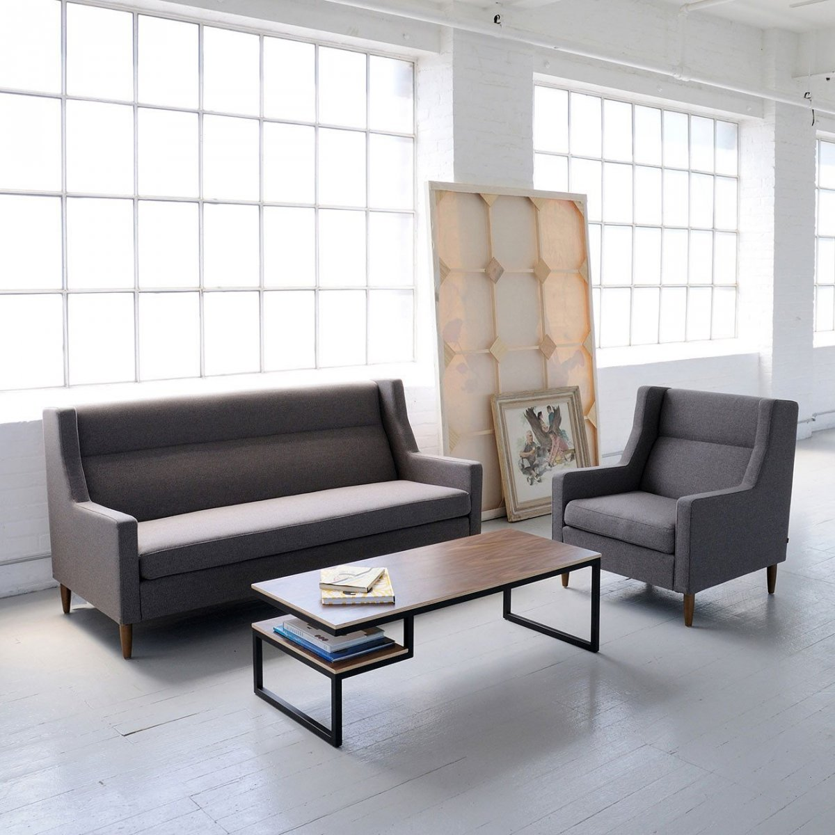 Carmichael Loft Sofa and Chair with Ossington Coffee Table.