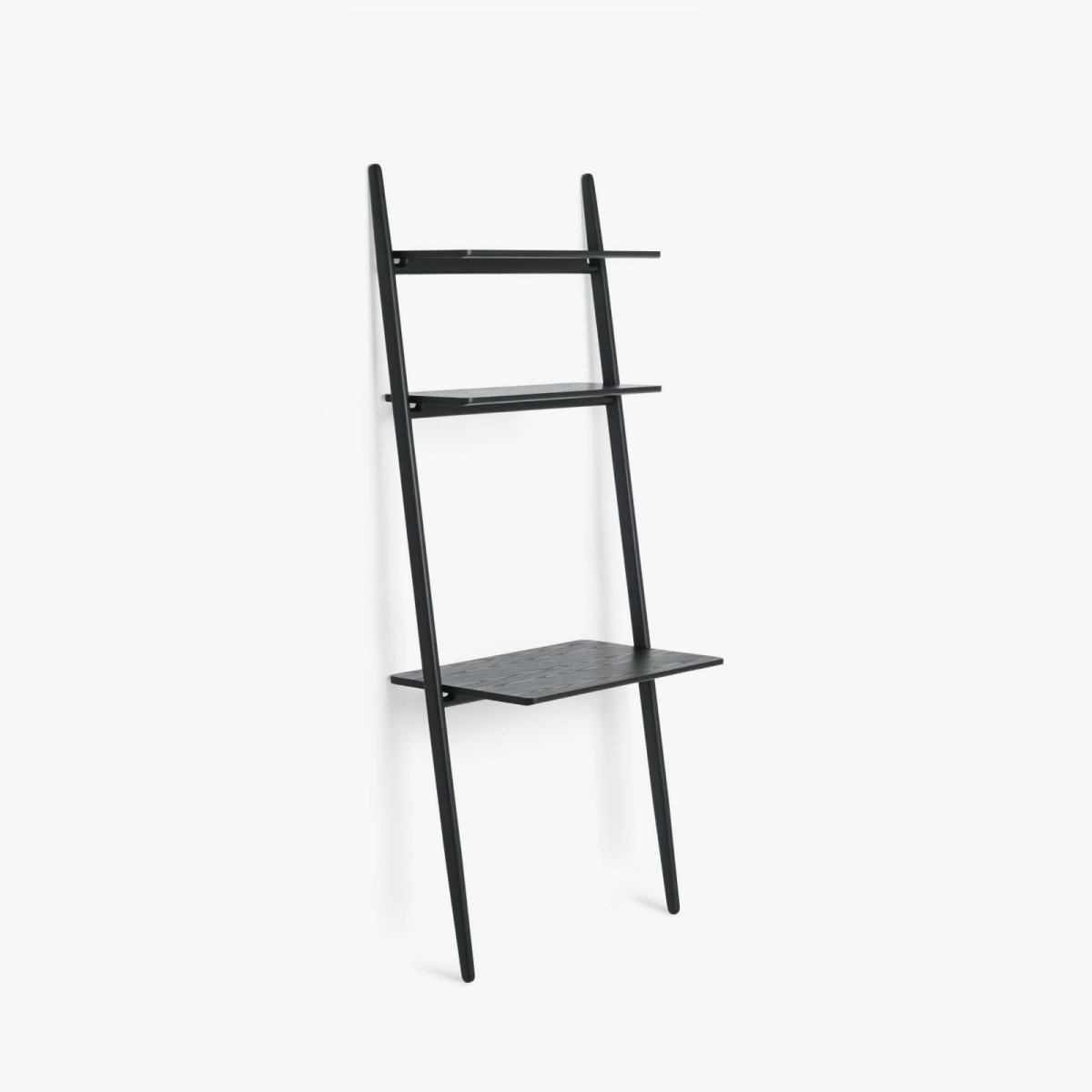 Folk Ladder Desk Shelving, black.