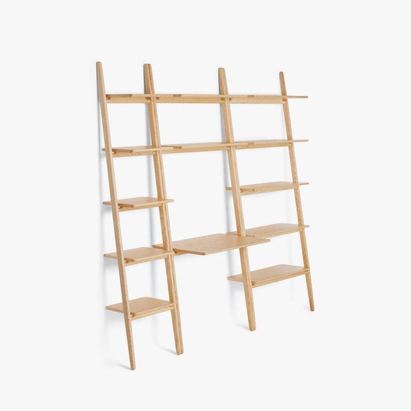 Folk Ladder Shelving and Desk Shelving, ash.