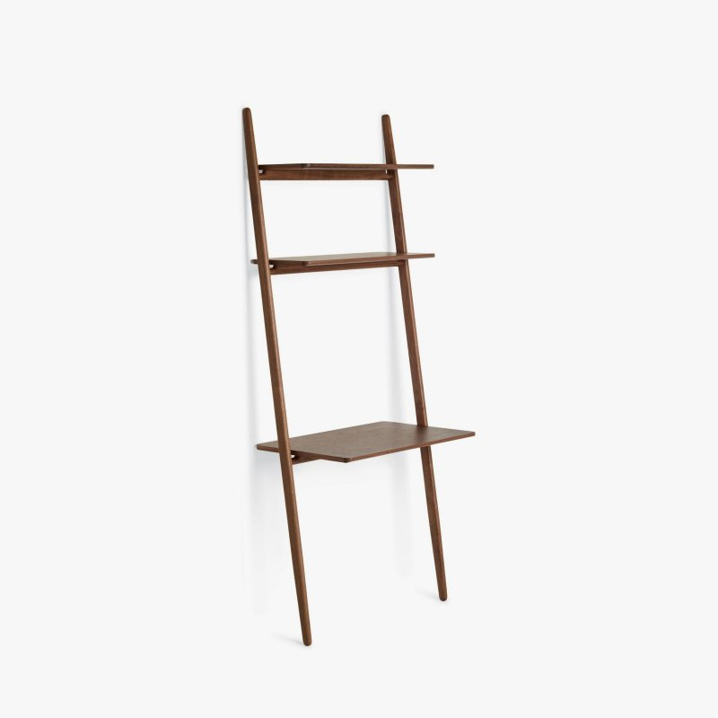 Folk Ladder Desk Shelving, walnut.