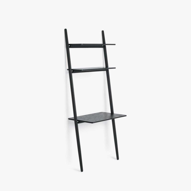Folk Ladder Desk Shelving, black.