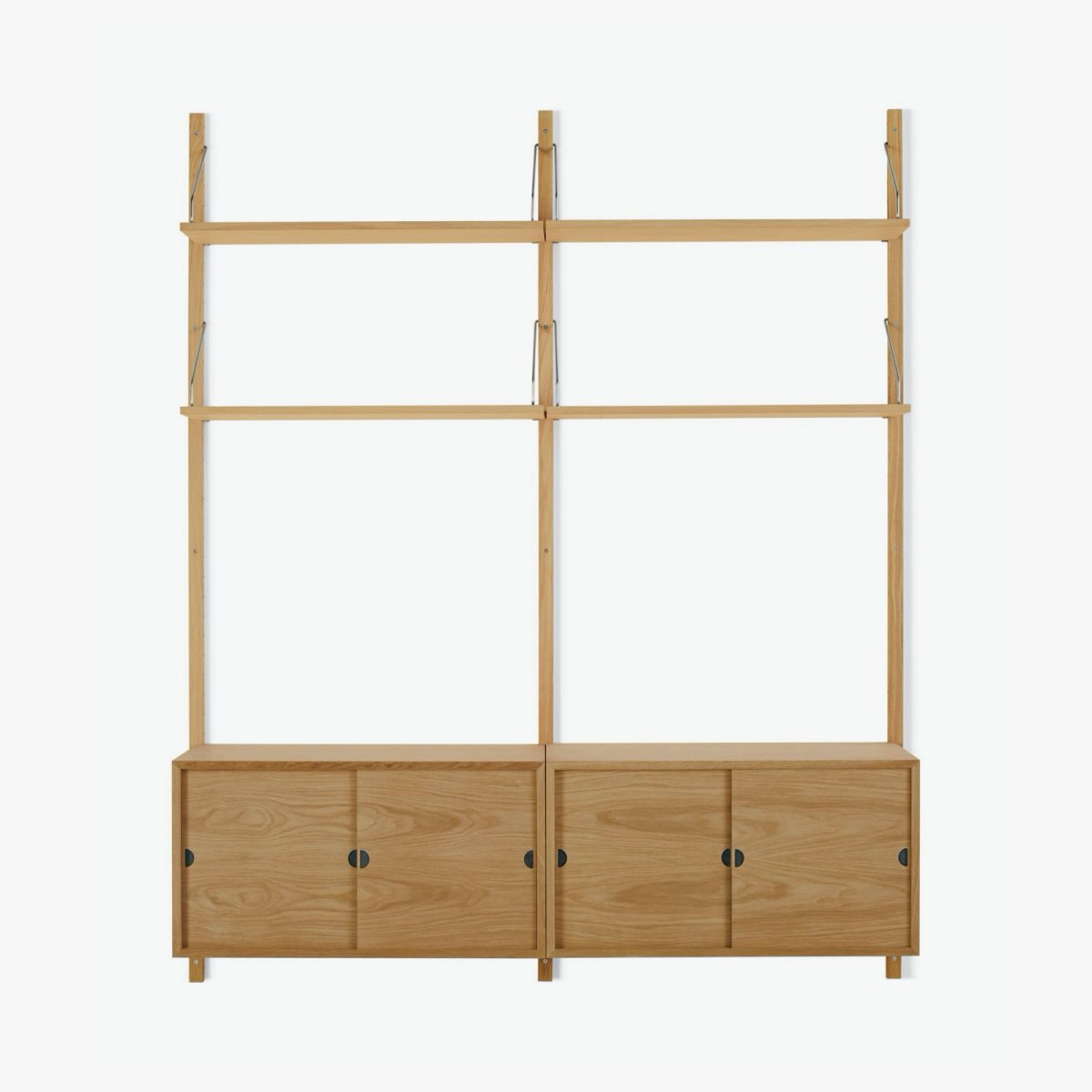 Royal System Shelving Unit B with Sliding Door Cabinets, oak.